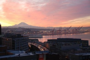 View from our condo looking south at Mt. Rainer. Can't wait to get back there this summer!