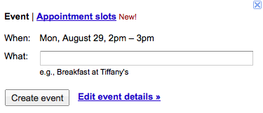 Appointment Slots new to Gcal