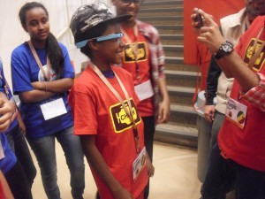 Students try on Google Glass for the first time
